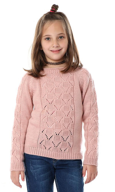 91600 Girls Pale Pink Knitted Scale Pullover - Ravin