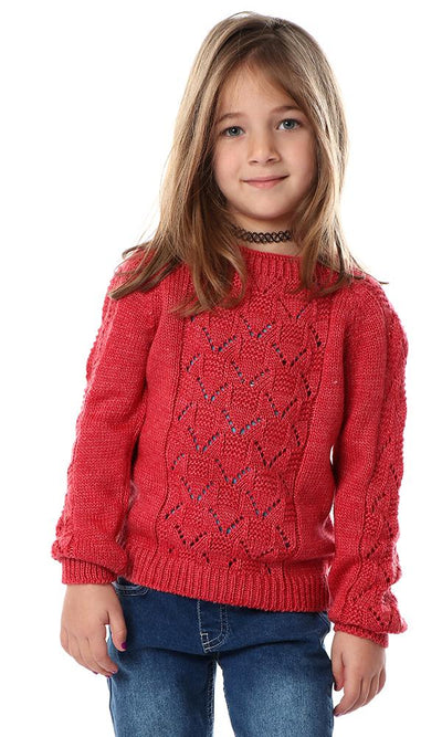 91601 Girls Front Knitted Scale Watermelon Pullover - Ravin