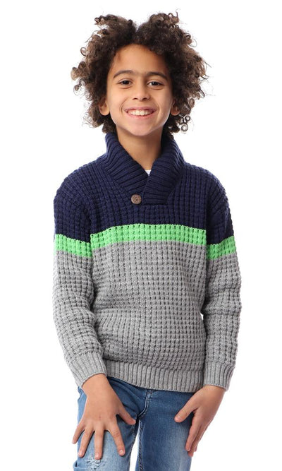 91614 Boys Kinitted Fashionable Pullover - Navy Blue, Grey & Neon Green - Ravin