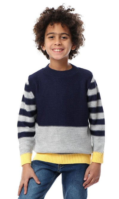 91617 Boys Tri-Tone Pullover With Striped Sleeves - Navy Blue & Grey - Ravin