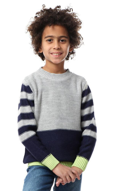 91618 Boys Striped Long Sleeves Chunky Pullover - Grey & Navy Blue