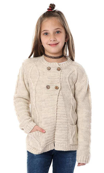 91645 Girls Long Sleeves Knitted Beige Cardigan With Buttons - Ravin