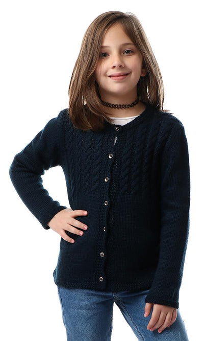 91647 Girls Navy Blue Knitted Braids Cardigan - Ravin