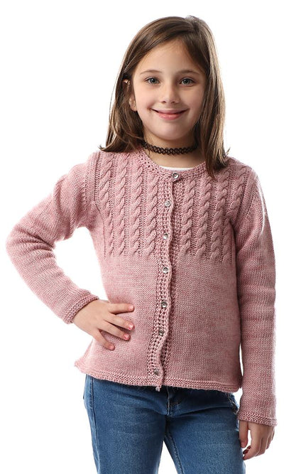 91648 Girls Round Neck Knitted Cardigan - Heather Dusty Rose - Ravin