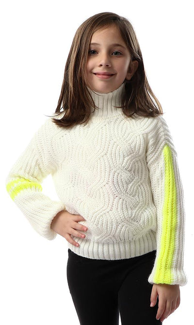 91649 Girls Chunky Knit Winter Off-White Pullover - Ravin