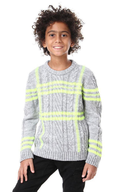 91672 Boys Knitted Long Sleeves Pullover - Grey & Neon Green