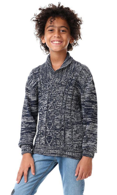 91683 Boys Bi-Tone Knitted Pullover - Heather Navy Blue