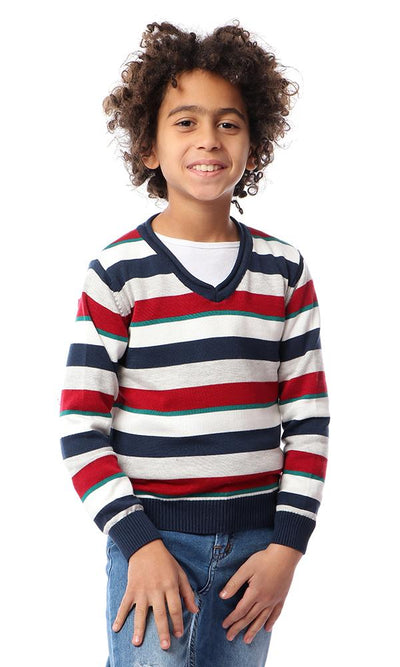 91685 Boys Ribbed Cuffs Striped Pullover - Red, Navy Blue & Heather Grey - Ravin