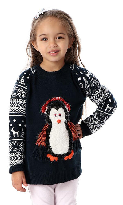91689 Girl Penguin With Scarf Navy Blue Pullovers - Ravin