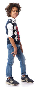 91691 Boys V-Neck Argyle Vest - Navy Blue - Ravin