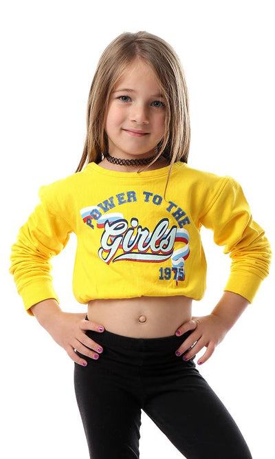 91695 Girls Front Print Sweatshirt With Elastic Trim - Yellow - Ravin