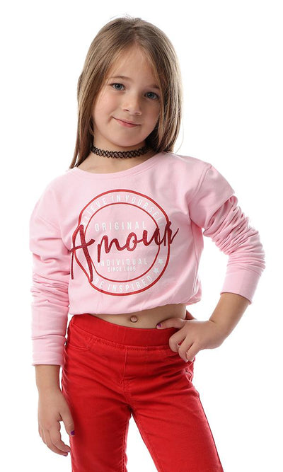 "91696 Girls ""Amour"" Printed With Elastic Trim Pink Sweatshirt - Ravin"