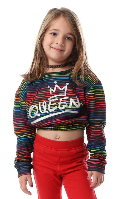 91697 Girls Striped Rainbow Slip On Sweatshirt - Ravin