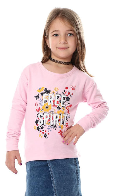 "91723 Girls ""Free Spirit"" Pink Long Sleeves Sweatshirt - Ravin"