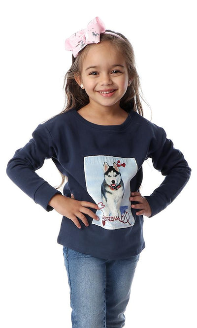 91726 Girls Navy Blue Sweatshirt With Front Stitched Patch - Ravin