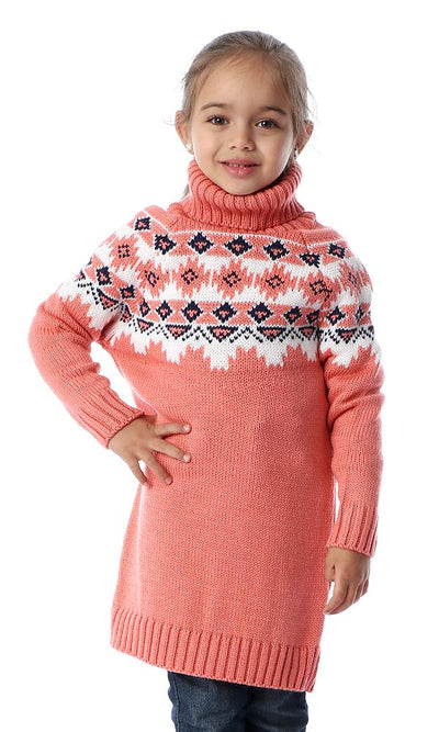 91739 Girls Winter Pattern Coral Long Pullover - Ravin