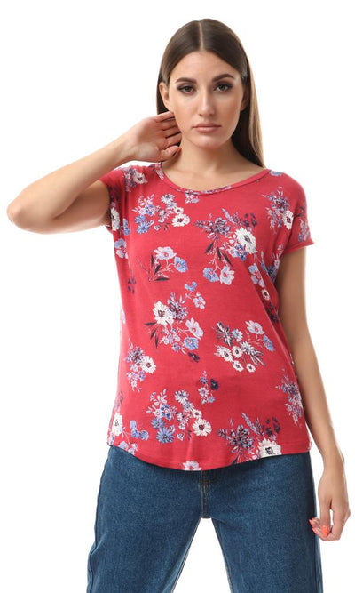 93000 Short Sleeves Floral Fluffy Red Comfy Top - Ravin