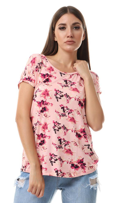 93002 Short Sleeves Floral Fluffy Salmon Comfy Top - Ravin