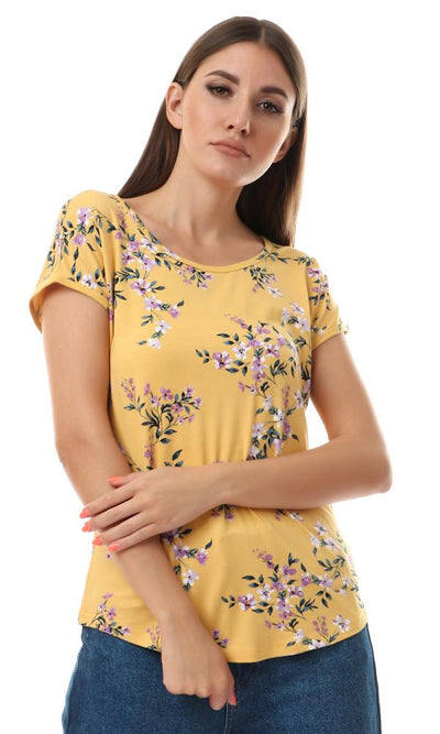 93003 Mango With Purple Flowers Print Top - Ravin