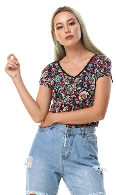 93004 High Low Self Floral Pattern Top - Multicolour - Ravin