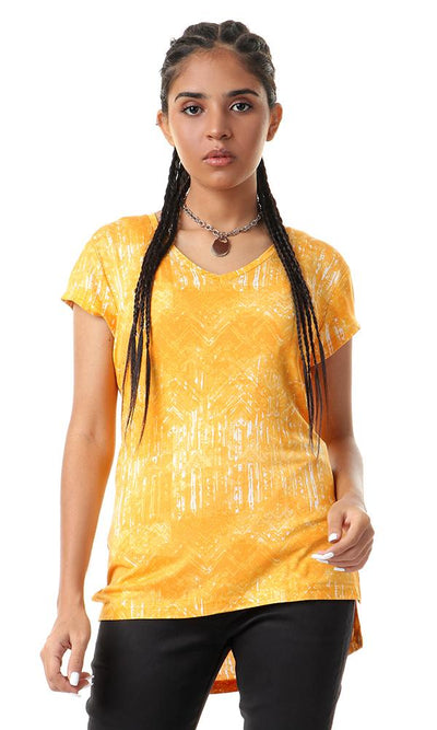 93006 Hi-Low V-Neck Mango Fluffy T-shirt