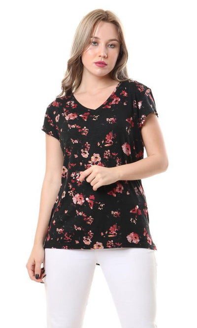 93007 V-Neck Short Sleeves Fluffy Floral Top - Black & Coral - Ravin