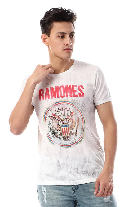 93021 Ramones Printed Casual T-Shirt - Heather White - Ravin