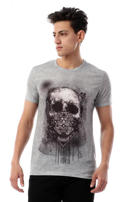 93023 Short Sleeves Self Skull Slip On Tee - Heather Grayish Green