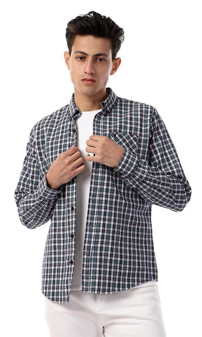 93041 Plaids Full Sleeves Buttoned Casual Shirt - Multicolour - Ravin