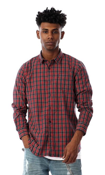93051 Classic Collar Buttoned Tartan Shirt - Red & Black - Ravin