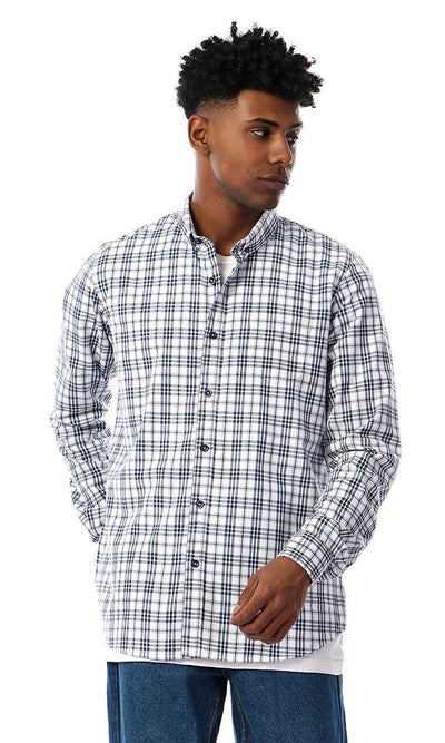 93059 Black & White Tartan Long Sleeves Casual Shirt - Ravin