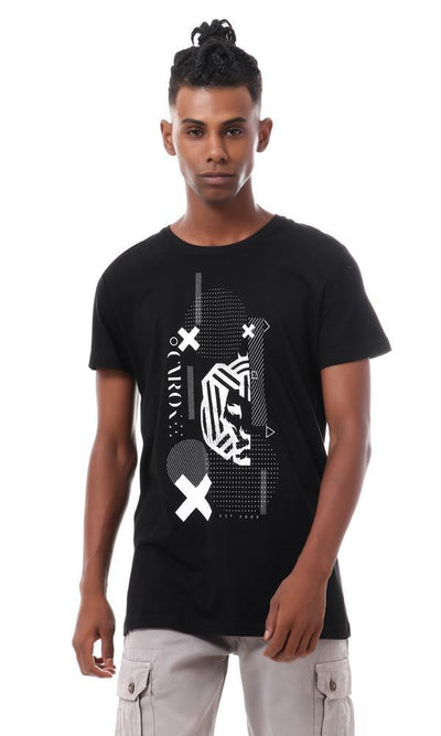 93073 Cairokee Collection Black Short Sleeves Printed T-shirt
