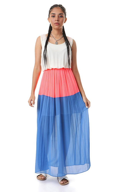 93108 Plisse Sleeveless Round Multicolour Maxi Dress - Ravin