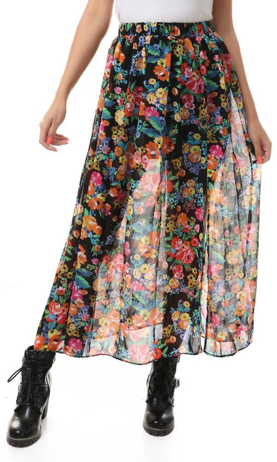 93117 Side Slit Floral Fashionable Skirt - Multicolour - Ravin