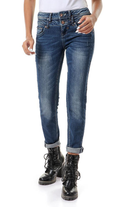 93132 Light Wash Casual Jeans With Five Pockets - Navy Blue - Ravin