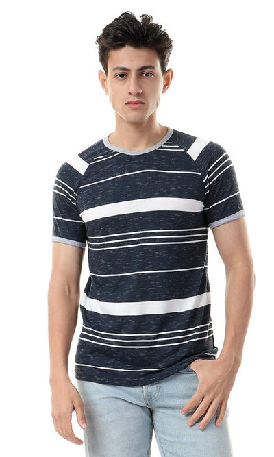 93141 Round Neck Striped Navy Blue & White Tee