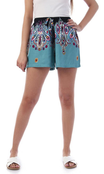 93155 Paisely Patterned Light Blue Summer Shorts - Ravin