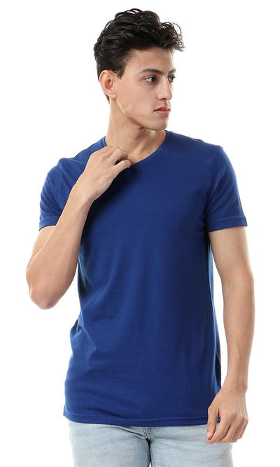 93176 Royal Blue V-Neck Basic Slip On T-shirt