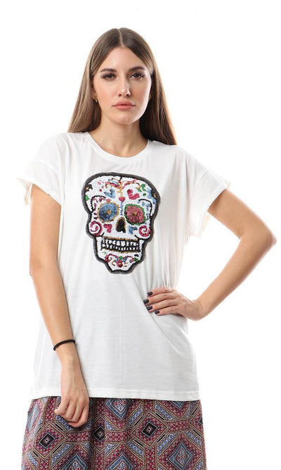 93217 Stitched Sequins Skull Off White Top - Ravin