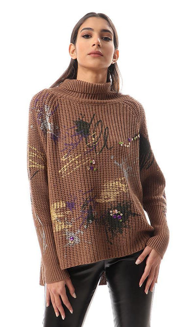 93314 Turtle Neck Chunky Glittery Knit Coffee Pullover
