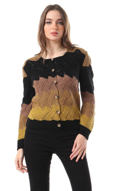 93320 Colorblock Buttoned Cardigan - Black , Coffee , Mustard