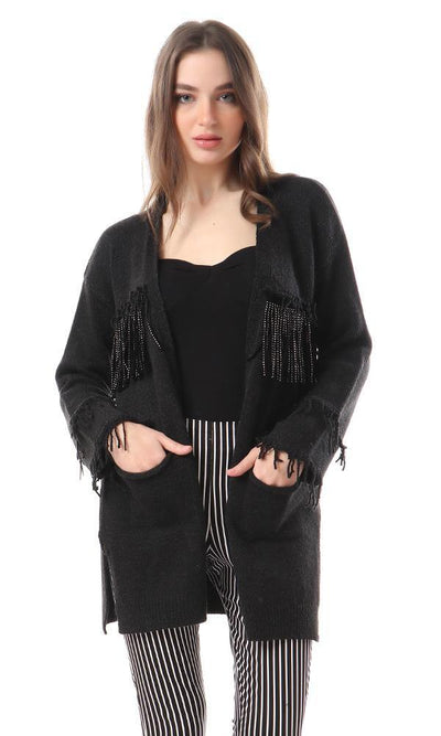 93322 Shiny Fringes Open Neckline Cardigan - Black