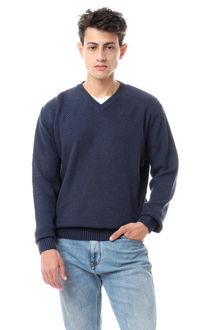 93354 Knitted Fashionable V-Neck Pullover - Midnight Blue - Ravin