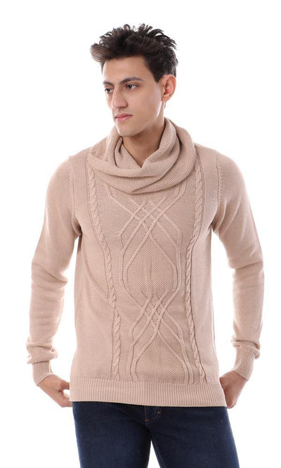 93358 Twist Cowl Neck Knitted Pullover - Beige