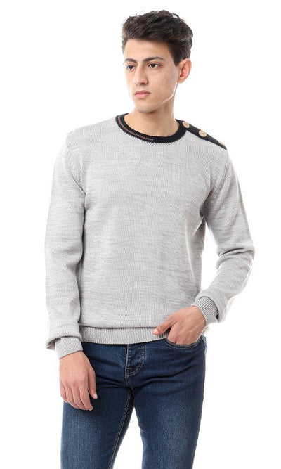 93364 Decorative Buttons Heather Light Grey Pullover - Ravin