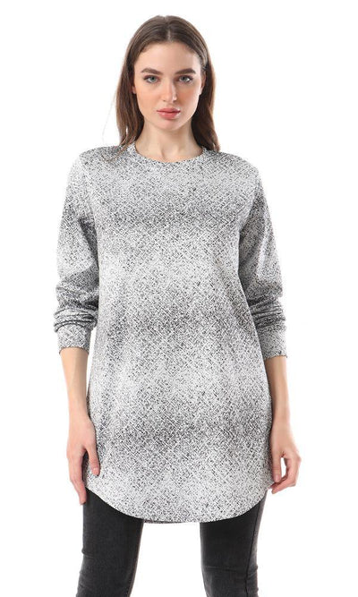 93386 Crew Neck Patterned Black & White Tunic Top