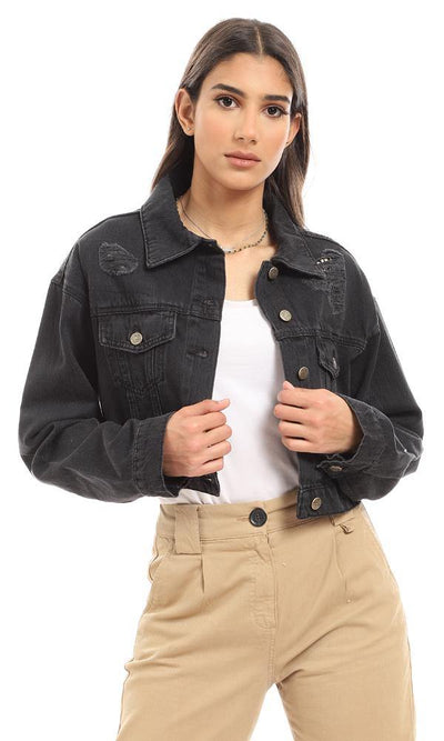 93395 Ripped Denim Cropped Jacket - Black