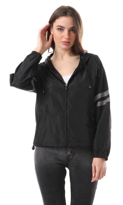 93397 Reflective Lined Sleeves Zipped Jacket - Black - Ravin