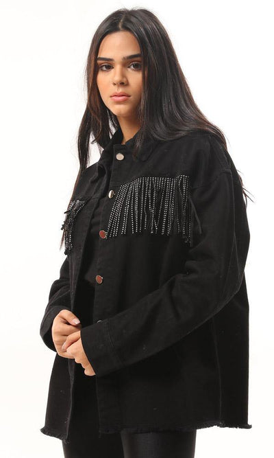 93408 Front Shiny Fringes Black Gabardine Jacket - Ravin