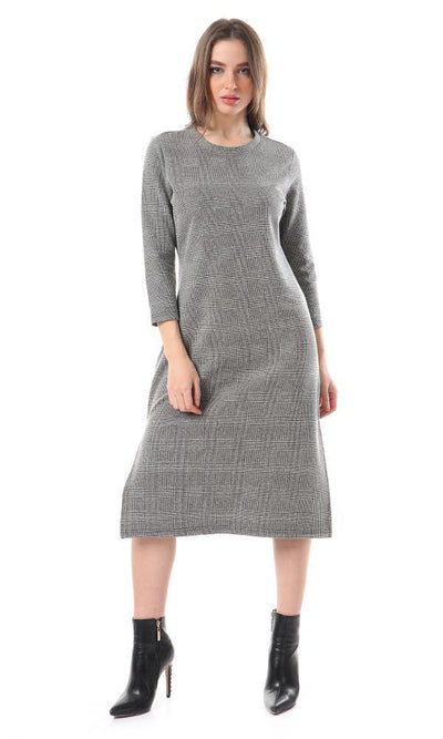 93425 Long Sleeves Patterned Midi Dress With Slits - Grey & Black - Ravin